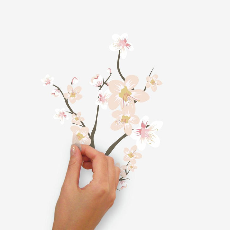 Cherry Blossom Branch Peel and Stick Giant Wall Decals with 3D Embellishments peel