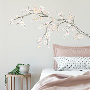 Cherry Blossom Branch Peel and Stick Giant Wall Decals with 3D Embellishments roomset