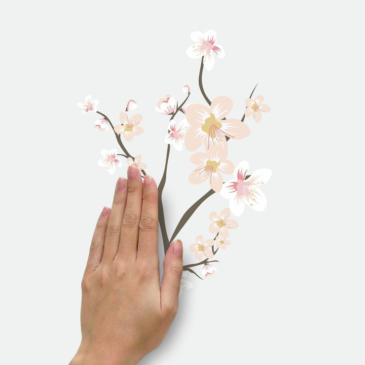 Cherry Blossom Branch Peel and Stick Giant Wall Decals with 3D Embellishments apply