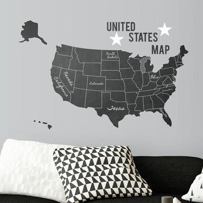 United States Chalk Map Peel and Stick Giant Wall Decals roomset