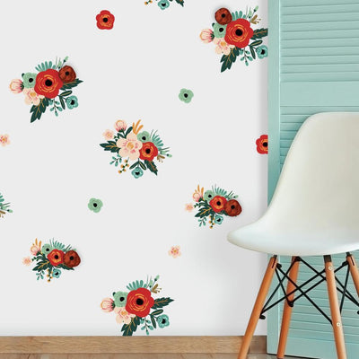 Mini Floral Peel and Stick Wall Decals with 3D Embellishments roomset