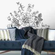 Black and White Peony Peel and Stick Giant Wall Decals roomset
