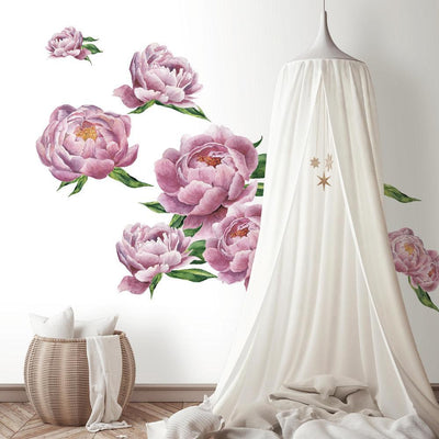 Large Peony Peel and Stick Giant Wall Decals roomset