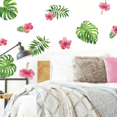 Tropical Hibiscus Flower Peel and Stick Wall Decals roomset
