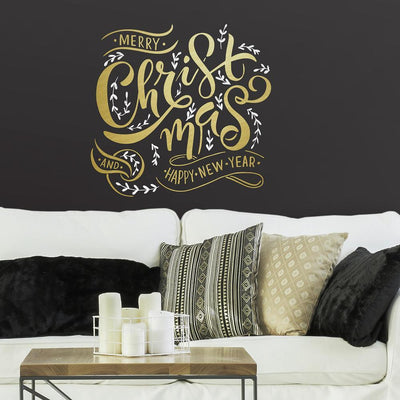 Merry Christmas Peel and Stick Giant Wall Quote Decals with Metallic Ink roomset