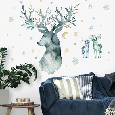 Watercolor Winter Deer Peel and Stick Giant Wall Decals roomset