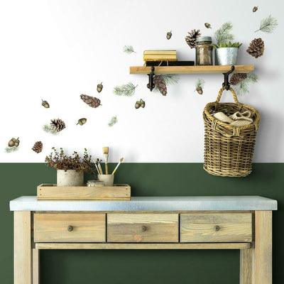 Acorn and Pinecone Peel and Stick Wall Decals roomset