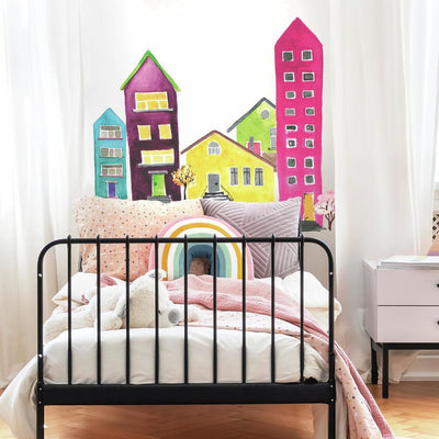 Watercolor Village Peel and Stick Wall Decals roomset