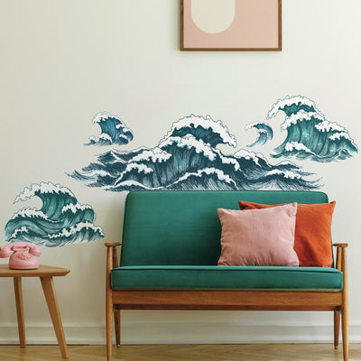 Great Wave Peel and Stick Giant Wall Decals roomset