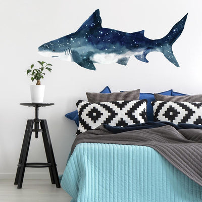 Shark Peel and Stick Giant Wall Decals roomset