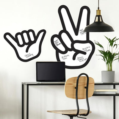 Peace Hand Dry Erase Peel and Stick Giant Wall Decals roomset