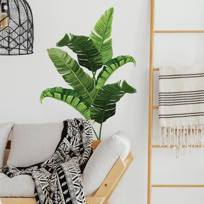 Banana Leaf Peel and Stick Giant Wall Decals roomset