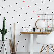 Black X Mini Peel and Stick Wall Decals roomset 2