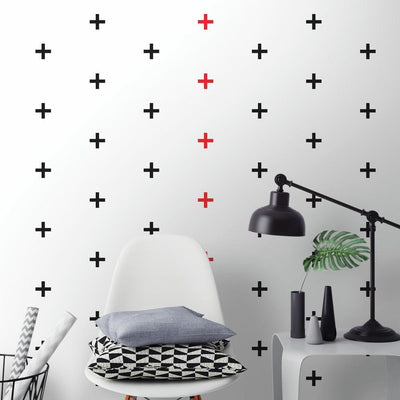 Black X Mini Peel and Stick Wall Decals roomset