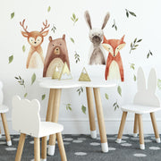 Watercolor Woodland Critters Peel and Stick Wall Decals roomset 2