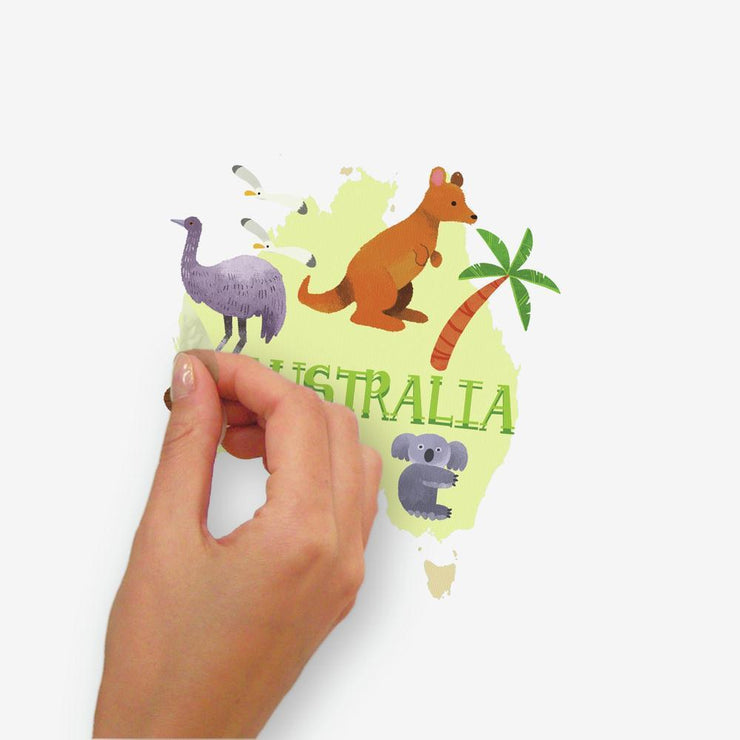 Kids World Map Peel and Stick Giant Wall Decals peel