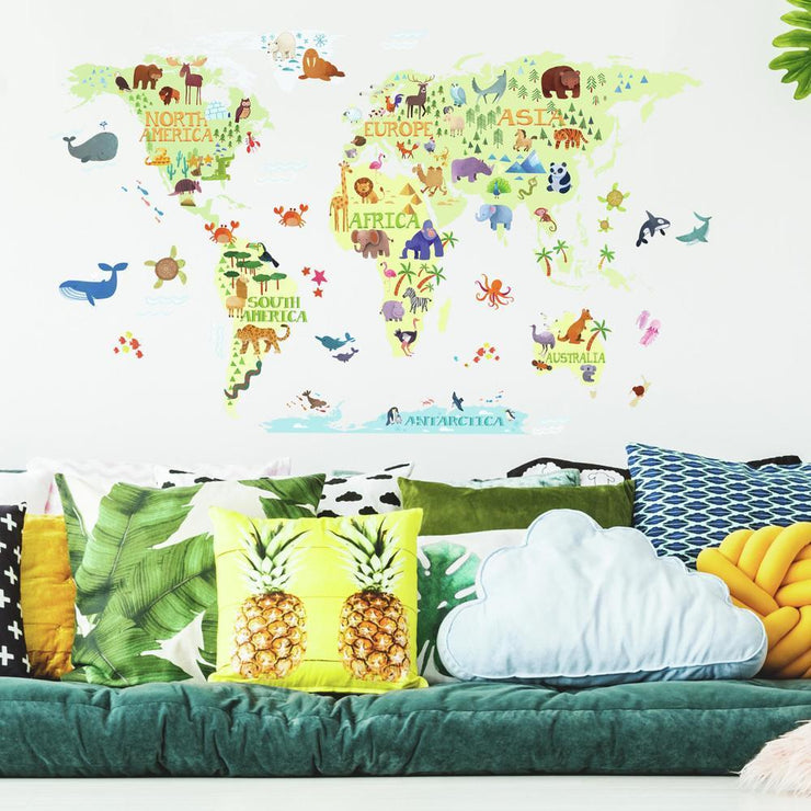 Kids World Map Peel and Stick Giant Wall Decals roomset