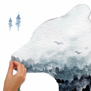 Watercolor Mountain Bear Peel and Stick Giant Wall Decal peel