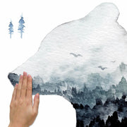 Watercolor Mountain Bear Peel and Stick Giant Wall Decal apply