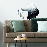 Watercolor Mountain Bear Peel and Stick Giant Wall Decal roomset