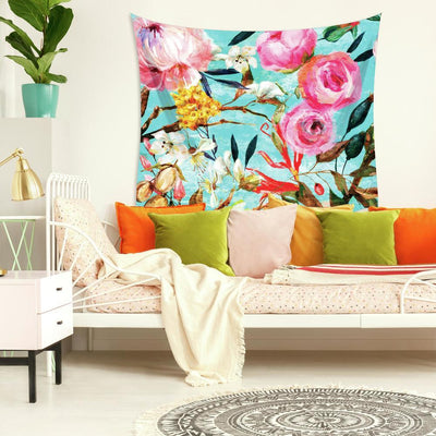 Oil Paint Floral Large Tapestry roomset