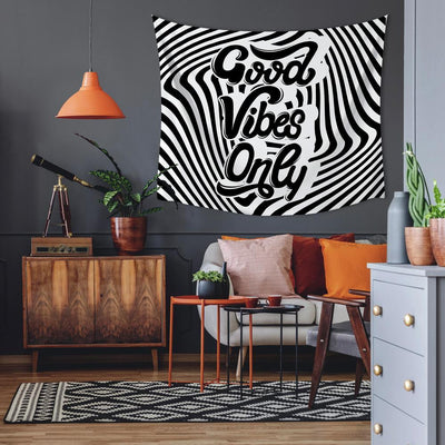 Good Vibes Swirl Large Tapestry roomset