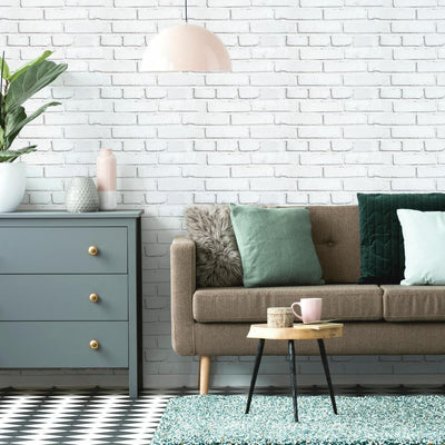 White Brick Peel and Stick Giant Wall Decals roomset 3