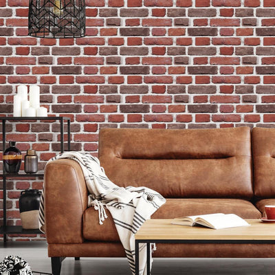 Red Brick Peel and Stick Giant Wall Decals roomset