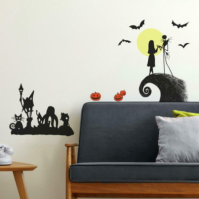Nightmare Before Christmas Silhouette Peel and Stick Wall Decals roomset