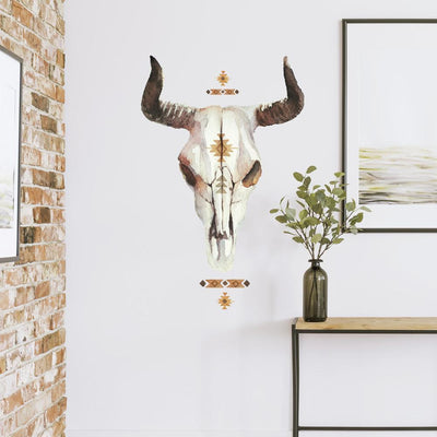 Cow Skull Southwestern Giant Wall Decals roomset
