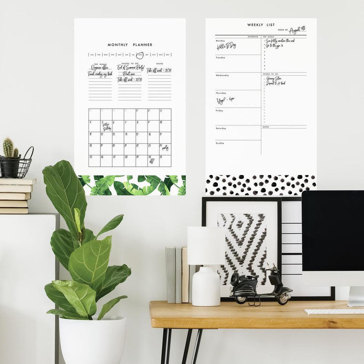 Monthly and Weekly Planner Dry Erase Peel and Stick Giant Wall Decals roomset