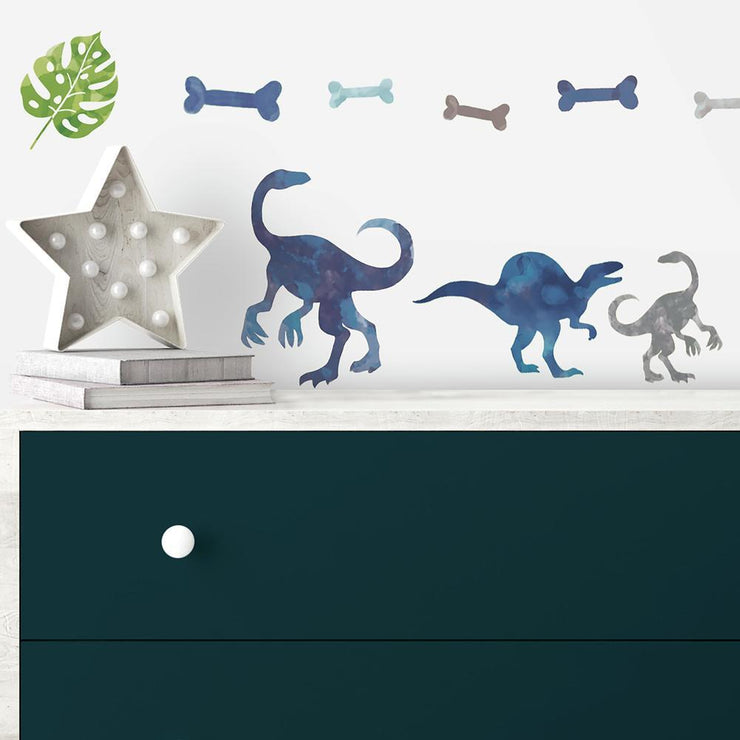 Watercolor Dinosaur Peel and Stick Wall Decals roomset 2