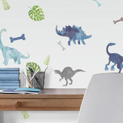 Watercolor Dinosaur Peel and Stick Wall Decals roomset