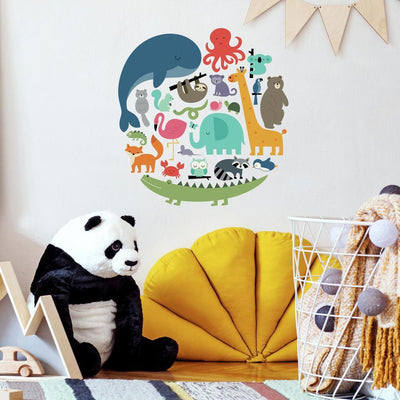We Are One Animal Peel and Stick Wall Decals by Andy Westface roomset 2