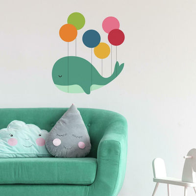 Whale Dream Walker Peel and Stick Giant Wall Decal roomset