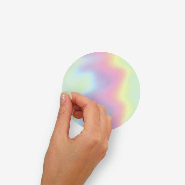 Holographic Circle Peel and Stick Wall Decals peel