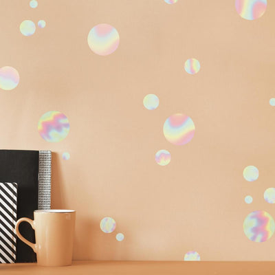 Holographic Circle Peel and Stick Wall Decals roomset