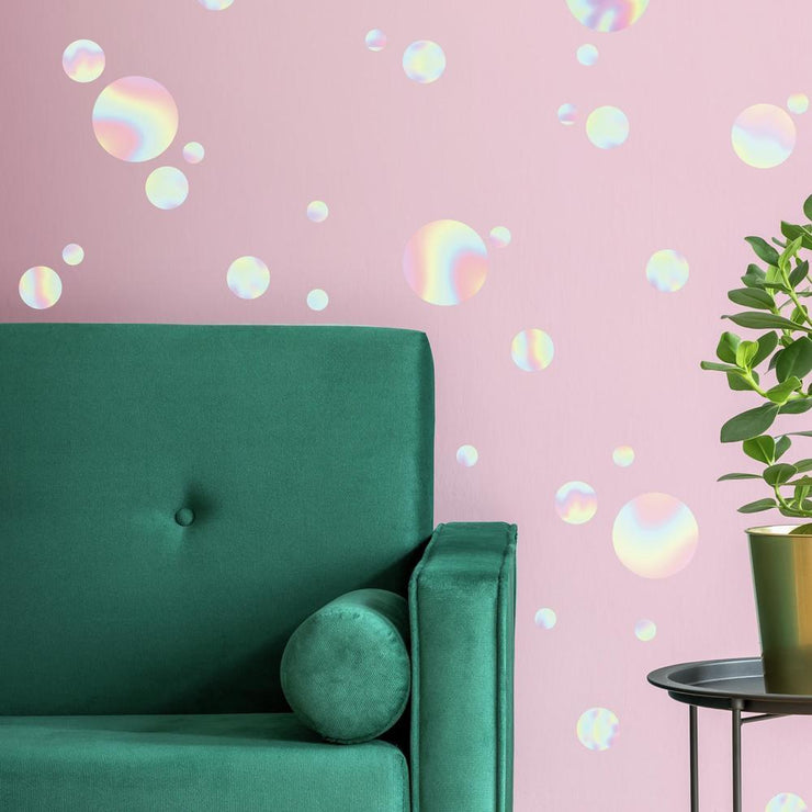 Holographic Circle Peel and Stick Wall Decals roomset 2
