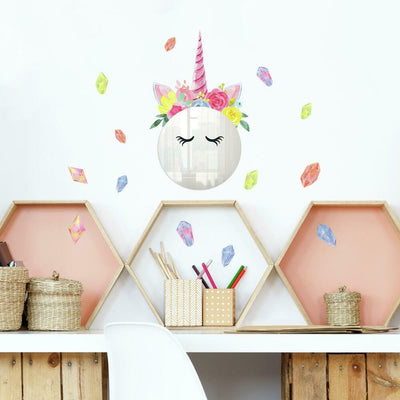 Floral Unicorn Mirror Wall Decals roomset