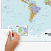 Dry Erase Map Of The World Peel and Stick Giant Wall Decal peel