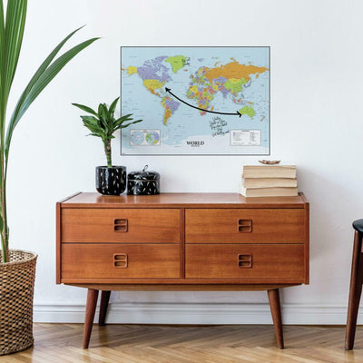 Dry Erase Map Of The World Peel and Stick Giant Wall Decal roomset