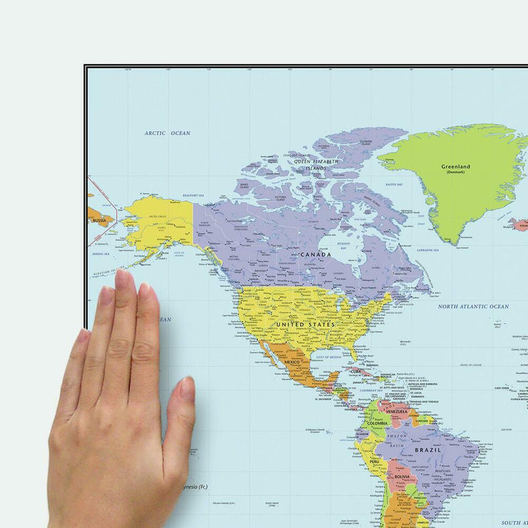Dry Erase Map Of The World Peel and Stick Giant Wall Decal place