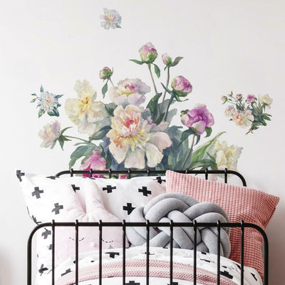 White and Pink Floral Bouquet Peel and Stick Giant Wall Decals roomset