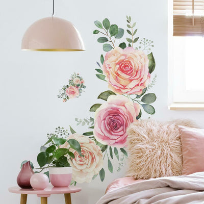 Pink Roses Peel and Stick Giant Wall Decals roomset