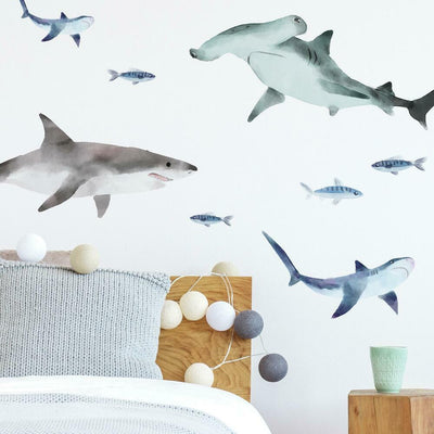 Sharks Peel and Stick Wall Decals roomset 2