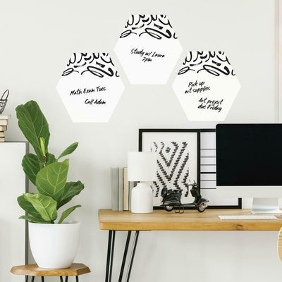 Doodle Dry Erase Hexagon Peel and Stick Wall Decals roomset