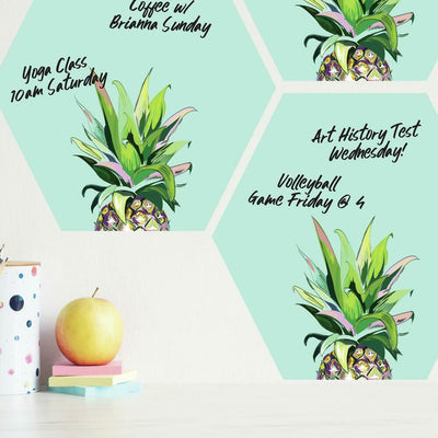 Pineapple Crown Dry Erase Hexagon Peel and Stick Wall Decals roomset