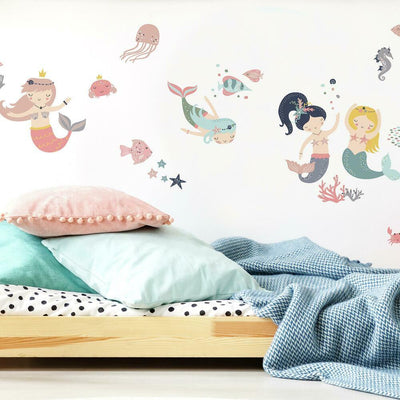 Sweet Pastel Mermaids Wall Decals roomset