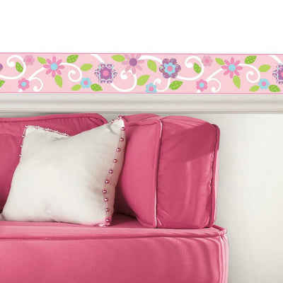 Scroll Floral Peel and Stick Border roomset