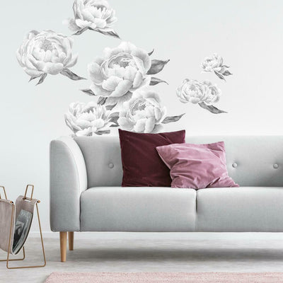 Black Peonies Peel and Stick Giant Wall Decals roomset